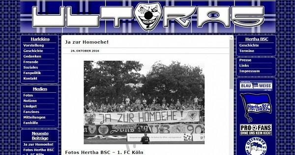 """Hertha-Fans Berliner Ultras sagen """"Ja zur Homoehe"""""""